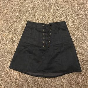 Black lace up mini skirt